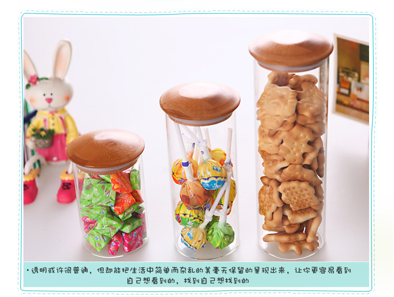 Glass Canister Set Jar Tea Spice Container Bamboo Lid sealed glass storage tank snack dried jar snack dried cans BPA Free 10